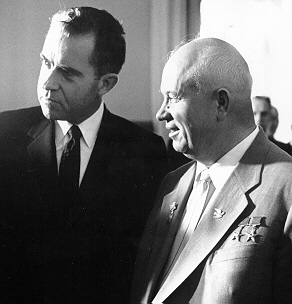 Vice President Richard M. Nixon and Soviet Premier Nikita Khrushchev at the Kremlin. (Photo: NARA,  Special Media Archives)