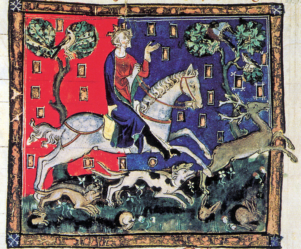 King John on a stag hunt.  From: Illuminated manuscript, De Rege Johanne, 1300-1400. MS Cott. Claud DII, folio 116, British Library.