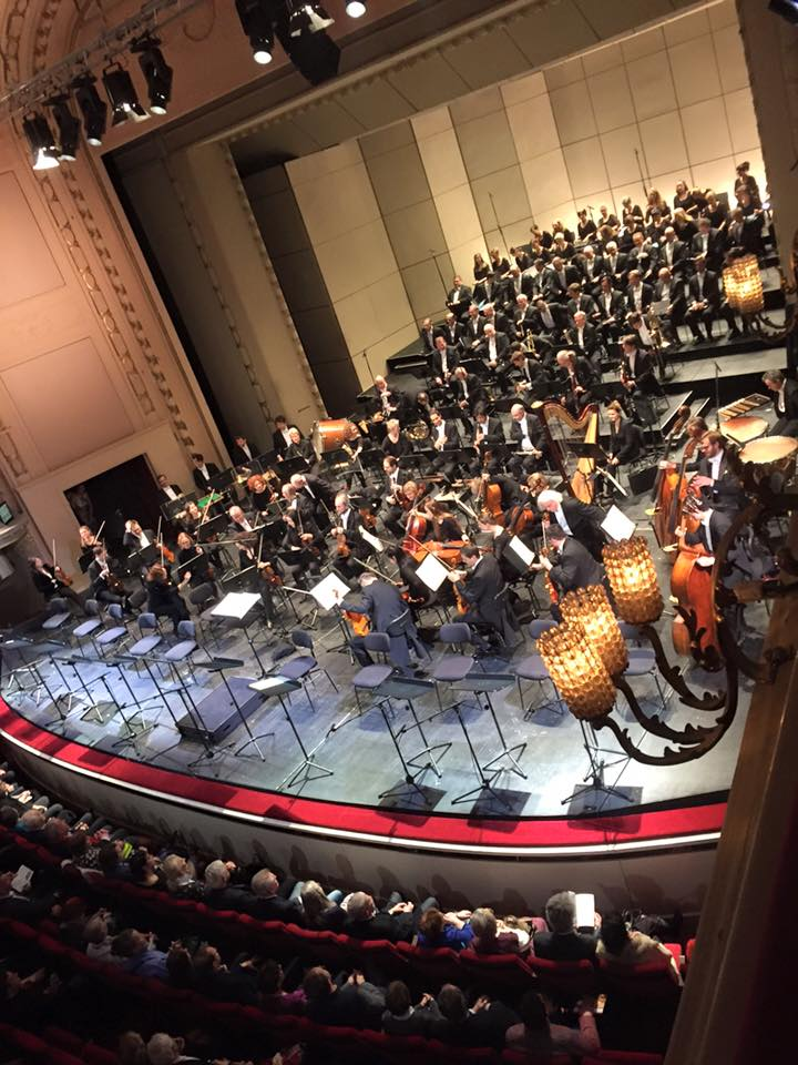 "The orchestra and chorus taking their seats for ""Fantasio"" at the Komische Oper Berlin. (Photo: Private)"