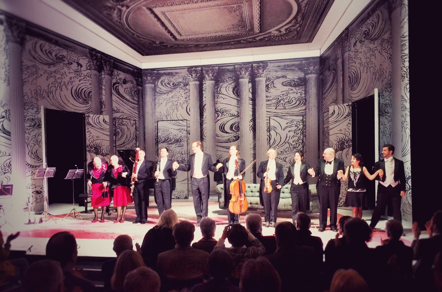 "The entire cast taking their bows after ""Salon Pitzelberger"" at the Komische Oper Berlin. (Photo: Andrea Roeber)"