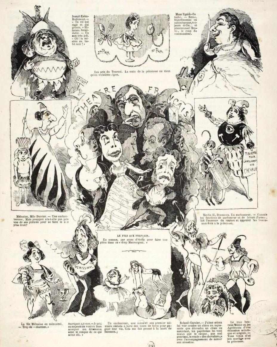 "A cartoon with scenes from Hervé's ""Les Chevaliers de la Table Ronde."" (Photo: Palazzetto Bru Zane)"