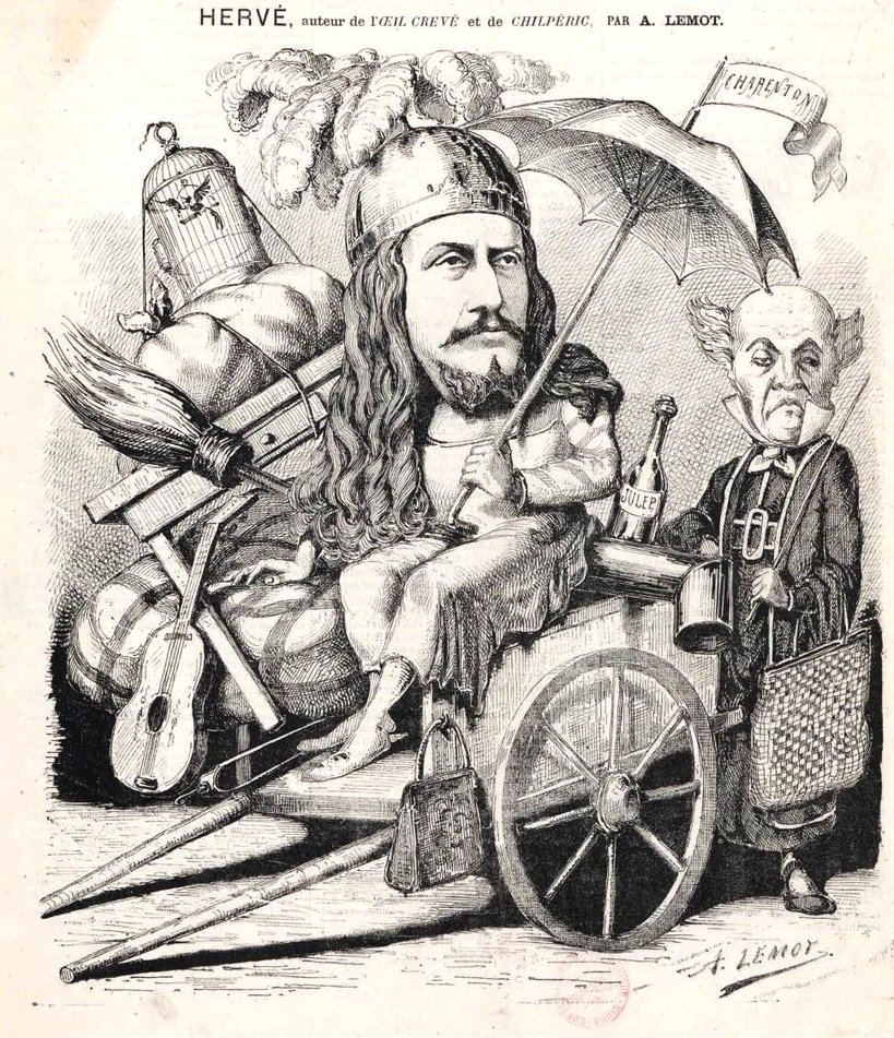 "A cartoon showing Hervé in his own ""Les Chevaliers de la Table Ronde."" (Photo: Palazzetto Bru Zane)"