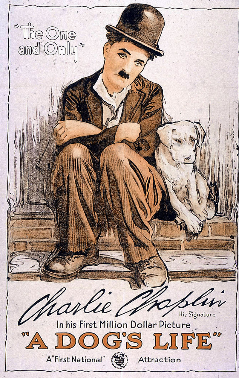 "Poster for ""A Dog's Life"" (1918). It was around this time that Chaplin began to conceive the Tramp as ""a sort of Pierrot"", or sad clown."