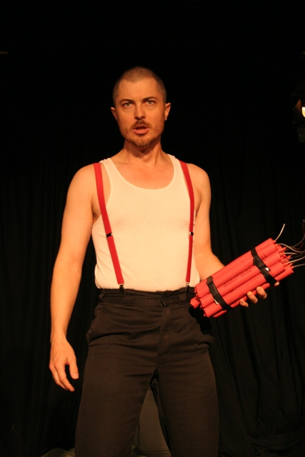 "The gay neo Nazi in ""The Beastly Bombing,"" LA production 2006. (Photo: Kim Gottlieb Walker)"