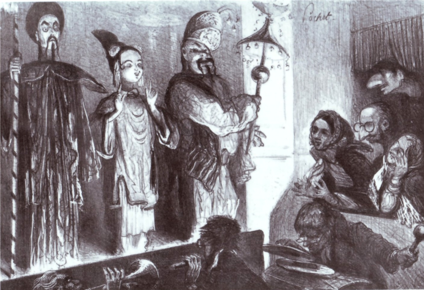 "The protagonists of Offenbach's ""Ba-ta-clan"" awaiting their execution; original 1855 production."