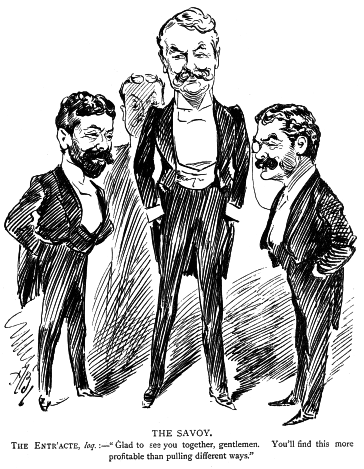 Impressario Richard D'Oyly Carte (l.) with Gilbert & Sullivan.