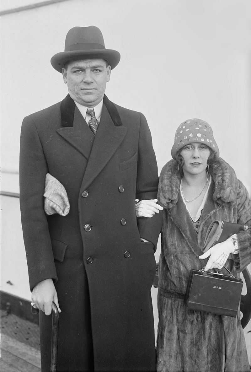 Hammerstein with his first wife, Myra Finn, photographed aboard a ship.