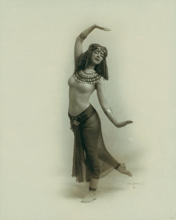 Ruth Saint Denis began to investigate Asian dance after seeing an image of the Egyptian goddess Isis in a cigarette advertisement, 1910.