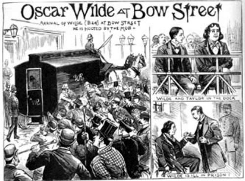 Oscar Wilde being taken to Bow Street magistrates court.