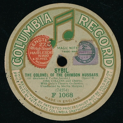 "A UK recording of Jacobi's hit song ""The Colonel of the Crimson Hussars."""