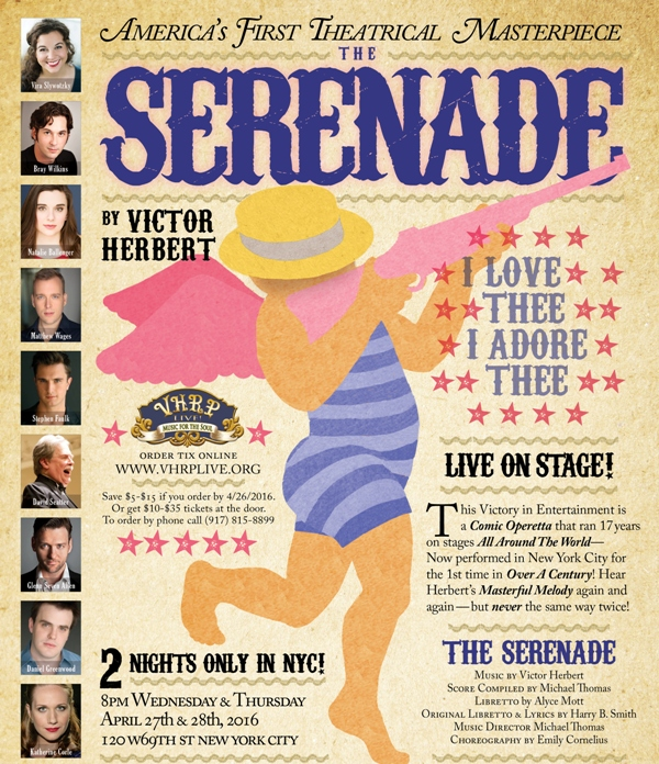"Poster for the 2016 production of Victor Herbert's ""Serenade."""