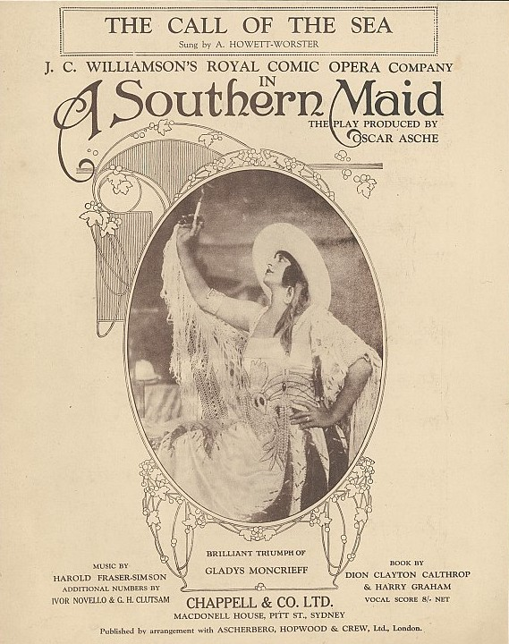 "Gladys Moncrieff on the sheet music cover of ""A Southern Maid."""