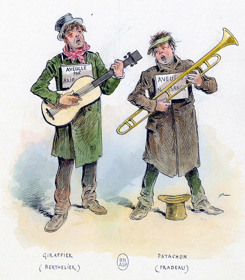 "Berthelier and Pradeau in ""Les deux aveugles"", 1855."