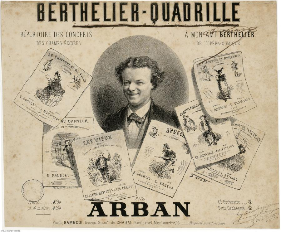 "A ""Berthelier Quadrille"" by Arban, showing the star performer in various roles."