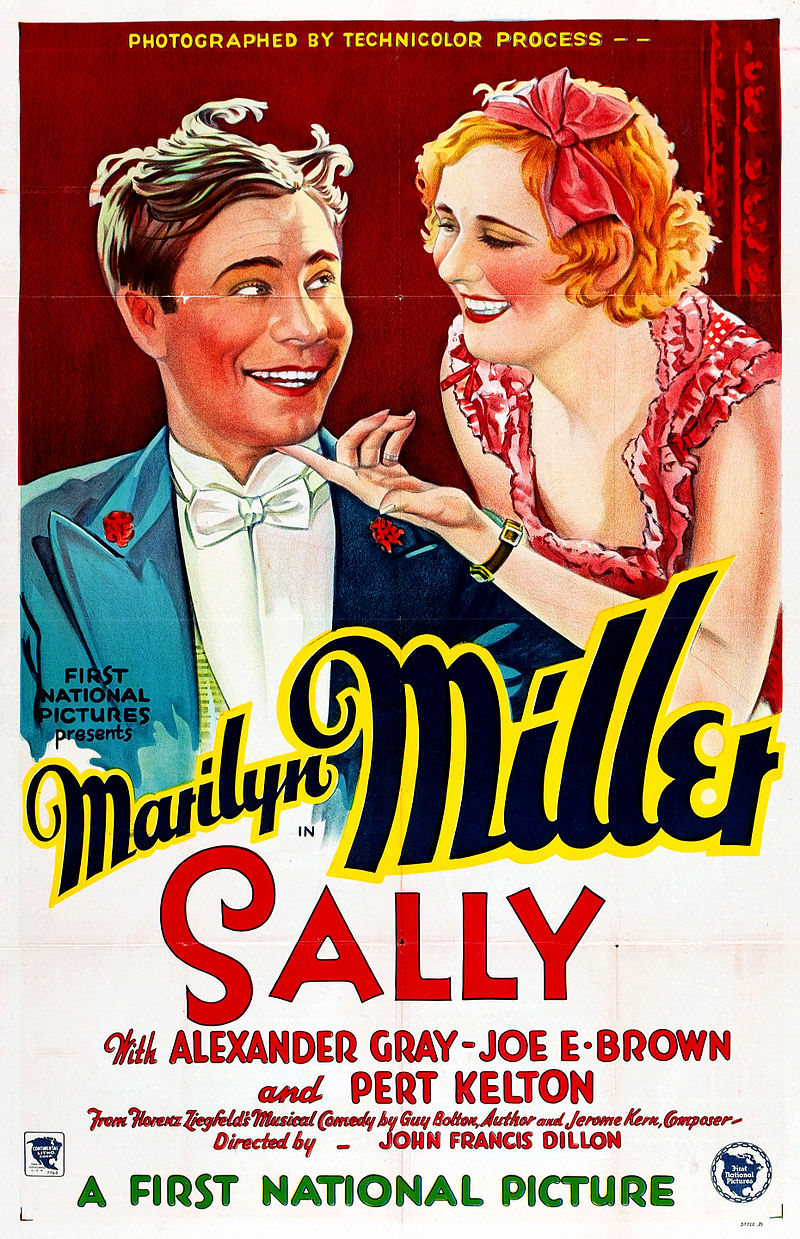"Poster for the film ""Sally"" starring Marilyn Miller, 1929."