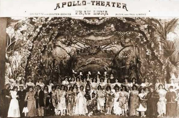 "Postcard with the original 1899 ""Frau Luna"" cast at the Apollo Theater."