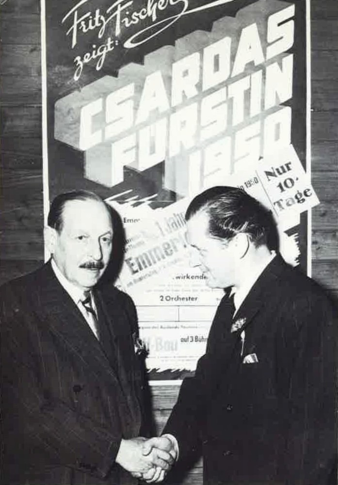 "Emmerich Kalman with Fritz Fischer at a gala performance of ""Csardasfürstin 1950."" (Photo from Vera Kalman, ""Csardas: Der Tanz meines Lebens,"" 1986)"
