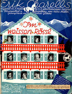 "Sheet music cover for ""Im weißen Rössl"" 1930."