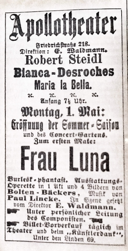 "The original playbill for ""Frau Luna,"" 1899."