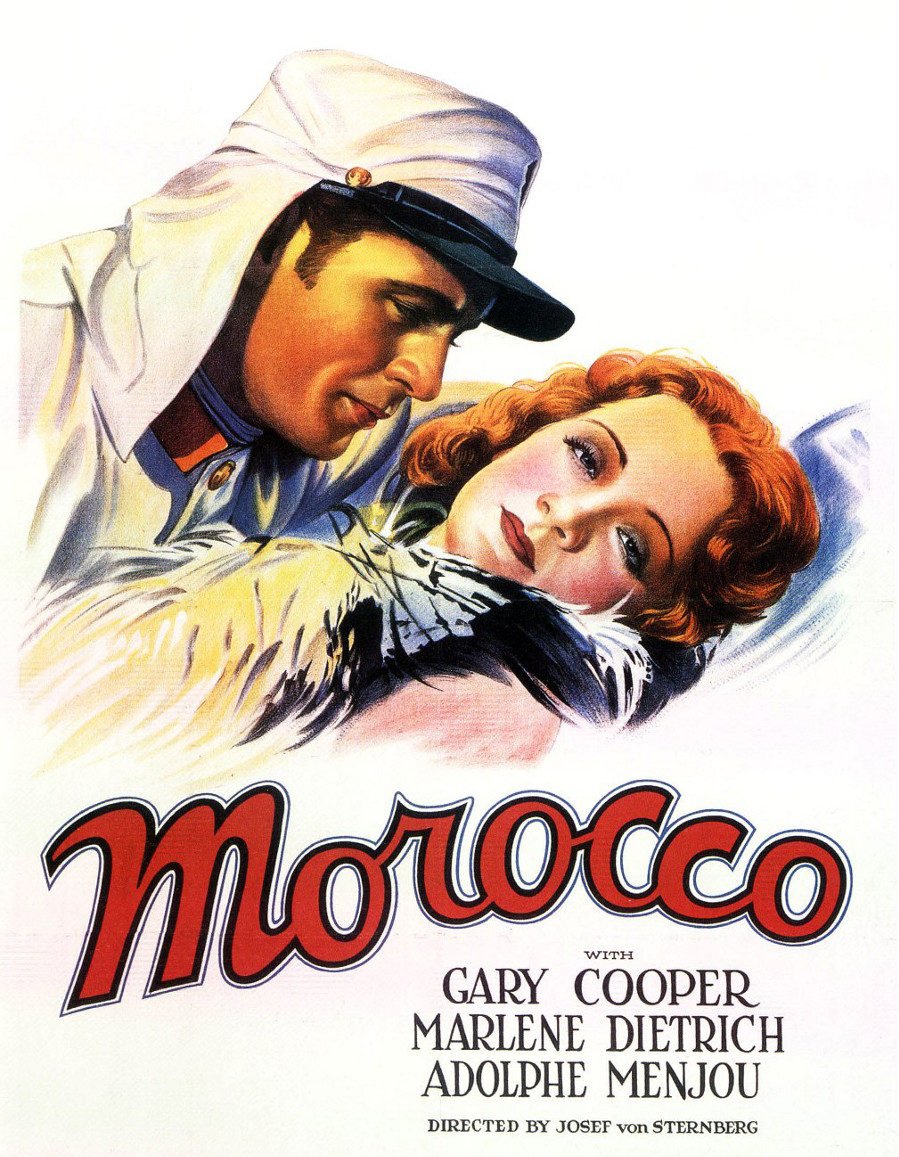 "Poster for the 1930 movie ""Morocco,"" starring Marlene Dietrich and Gary Cooper."