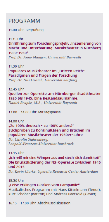 The schedule for the Nuremberg conference on June 12.