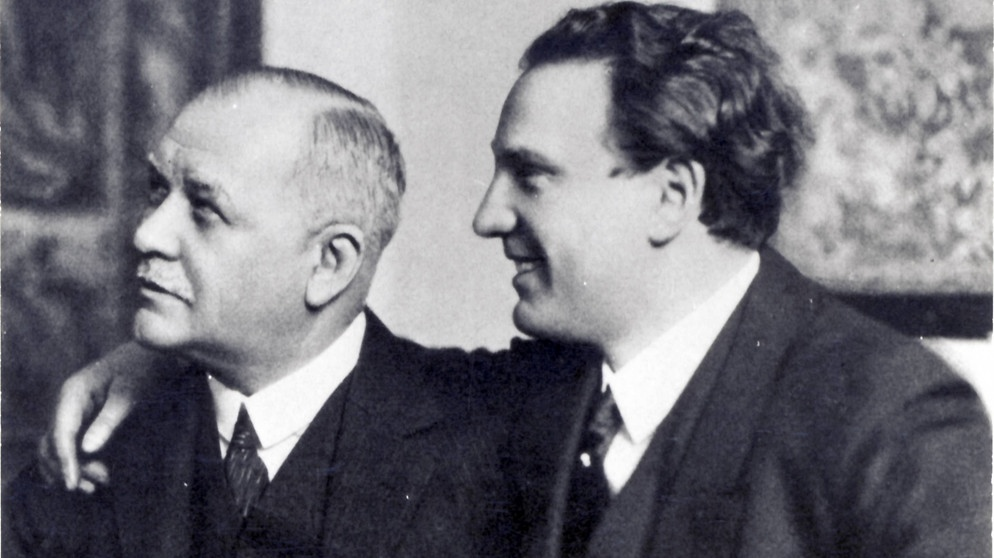 Franz Lehár with his star tenor Richard Tauber who premiered all of Lehár's last operettas.