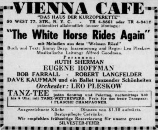 "Advertisment for ""White Horse Inn"" from ""Aufbau,"" December 1947."