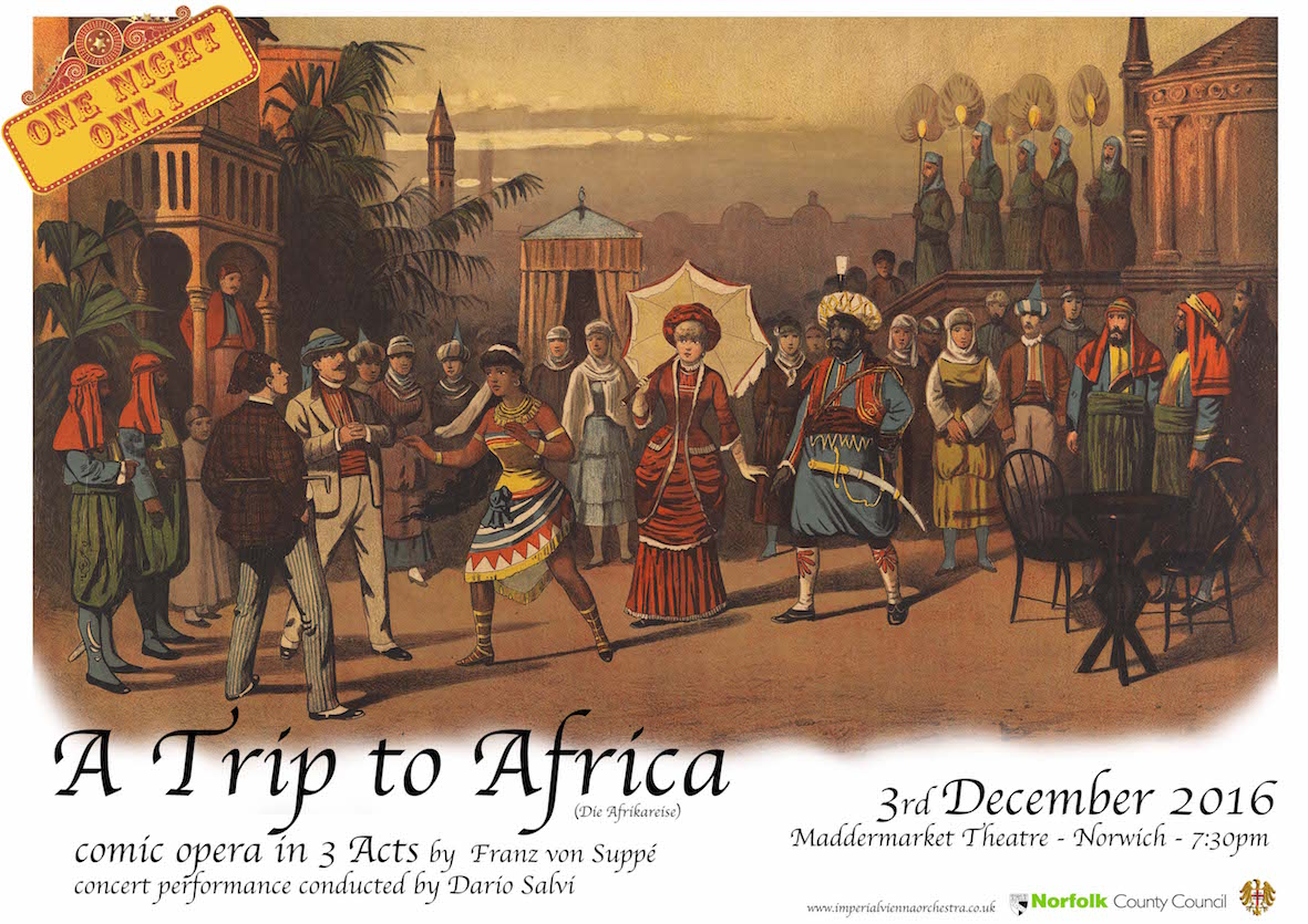 "Advertisment for the live performance of Suppé's ""A Trip to Africa."""