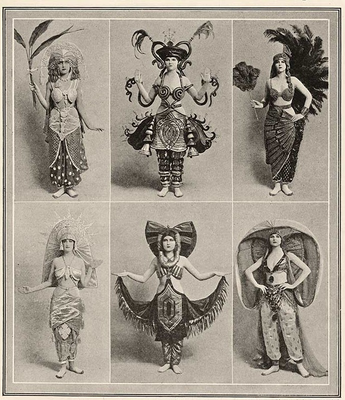 "Costume designs for ""Chu Chin Chow"" as seen in the magazine ""Tatler,"" 1917."