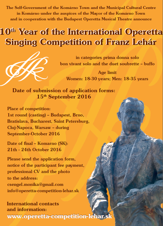 "Poster for the 2016 ""International Operetta Singing Competition of Franz Lehár."""