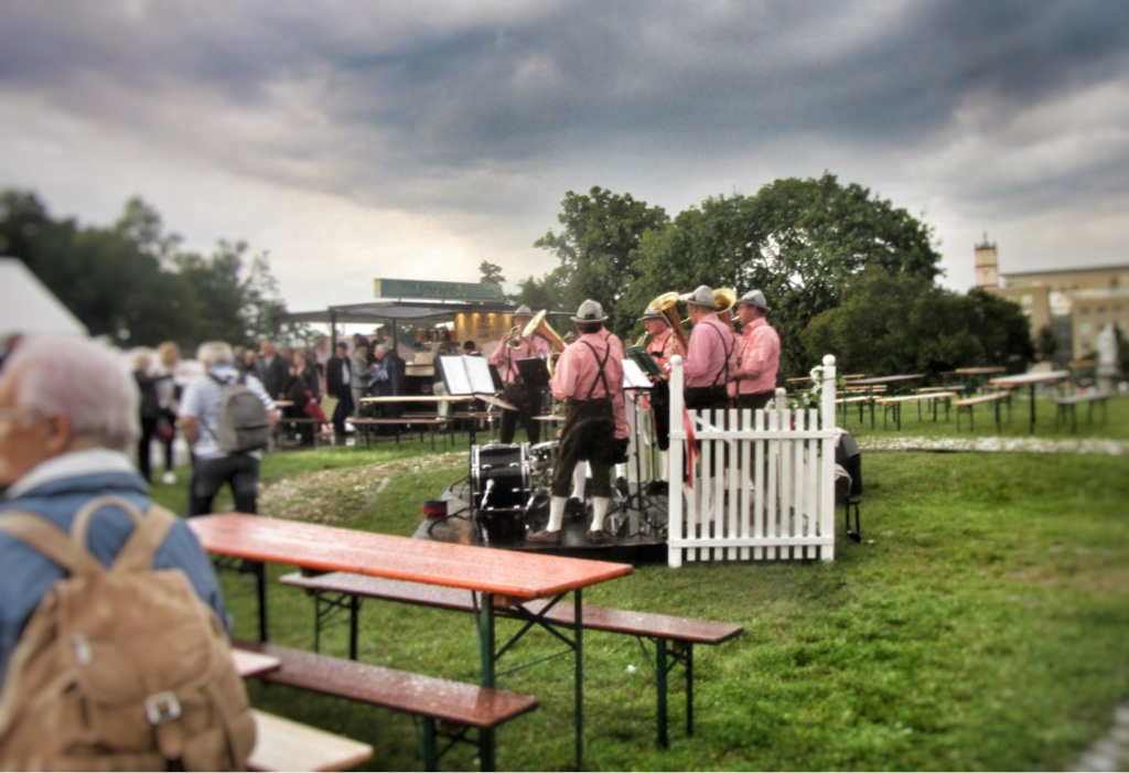 "The brass band playing during the interval of ""Im weißen Rössl"" in Neustrelitz. (Photo: Kevin Clarke)"