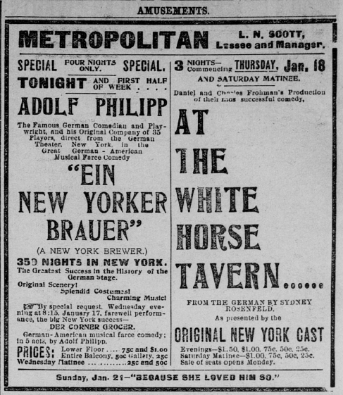 "Newspaper advertisement for ""Ein New Yorker Brauer"" (New York Brewer) in a Adolf Philipp production."