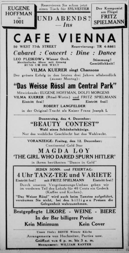 "Advertisment for the 1941 production of ""Das weiße Rössl am Central Park"" in ""Aufbau."" (Photo: Susanne Korbel)"