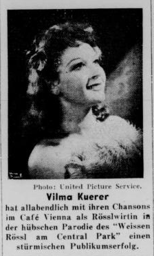 "Vilma Kuerer als shown in the newspaper ""Aufbau"" in 1941. (Photo: Susanne Korbel)"
