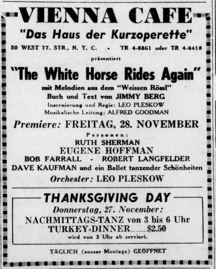 "Advertisment for the 1947 production ""The White Horse Inn Rides Again."" (Photo: Susanne Korbel)"