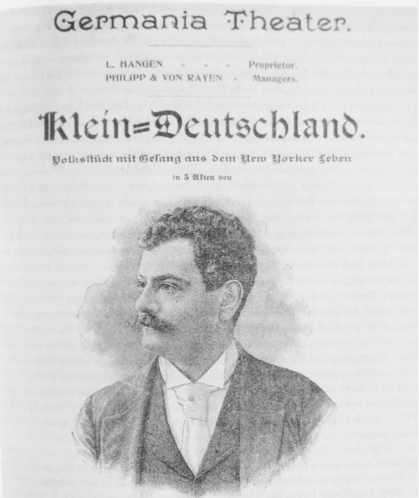 "Adolf Philipp, as seen in the newspaper ""Klein Deutschland"" (Little Germany). From: John Koegel: ""Music in German Immigrant Theater; New York City 1840-1940."""