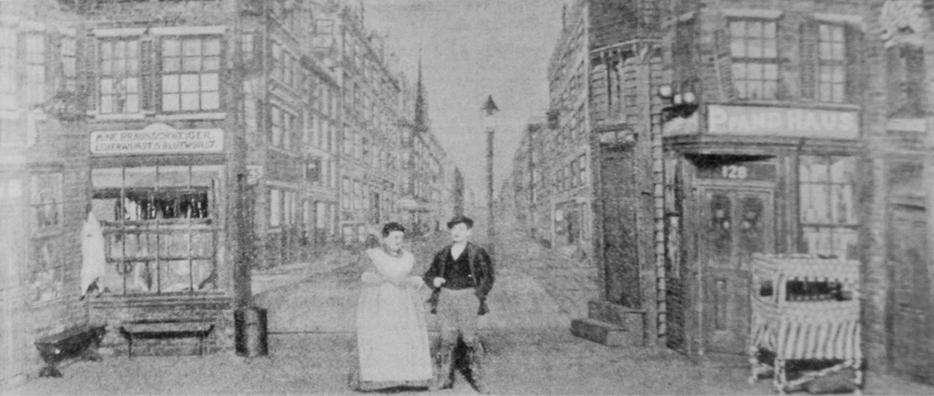 "Scene from ""Der Pawnbroker von der East Side"" with Adolf Philipp and Eugenie Schmitz. From: John Koegel: ""Music in German Immigrant Theater; New York City 1840-1940."""