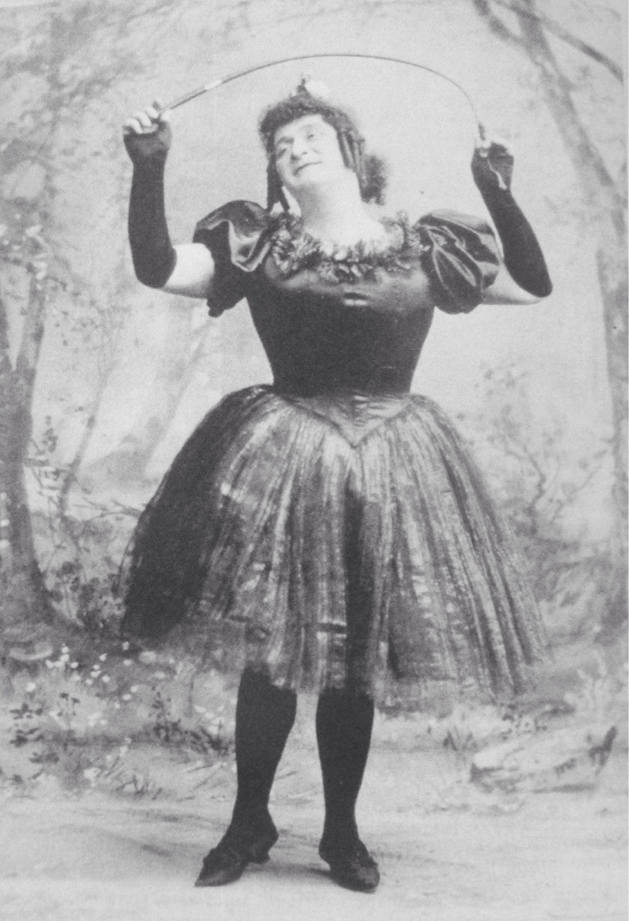 "Cross-dressed hightlight from ""New York bei Nacht"": Bernhard Rank as Thusnelda Mohrrübchen (= Miss Carrot). From: John Koegel: ""Music in German Immigrant Theater; New York City 1840-1940."""