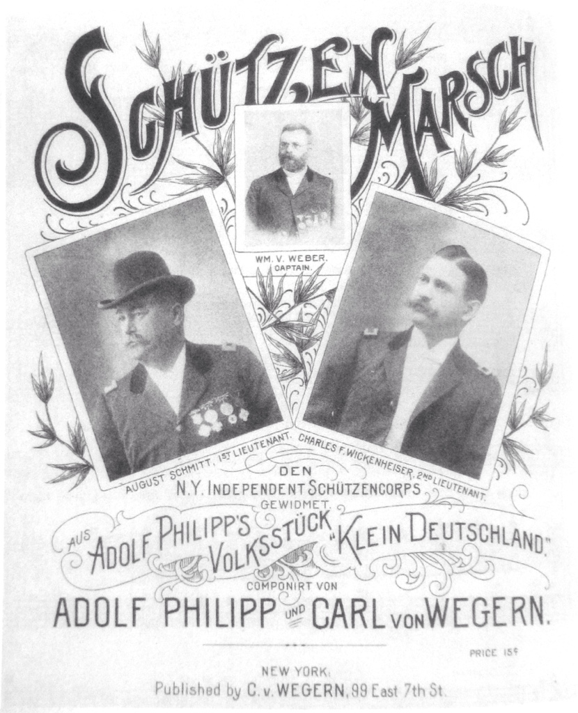 "Sheet music cover for Adolf Philipp's ""Schützenmarsch"" from the Volksstück ""Klein Deutschland."" From:  John Koegel: ""Music in German Immigrant Theater; New York City 1840-1940."""