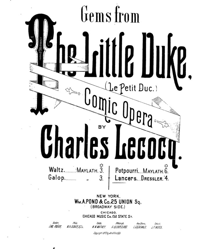 "Sheet music cover for Charles Lecocq's ""The Little Duke."""