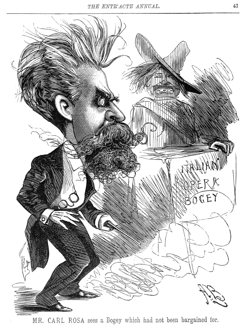 Carl Rosa startled by the bogey of Italian Opera in an 1886 cartoon by Alfred Bryan.