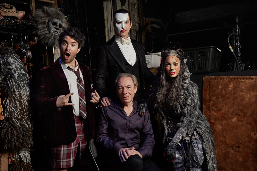 "Andrew Lloyd Webber with stars of his three current Broadway shows: Alex Brightman (""School of Rock""), James Barbour (""Phantom""), and Leona Lewis (""Cats""). (Photo: Nathan Johnson)"