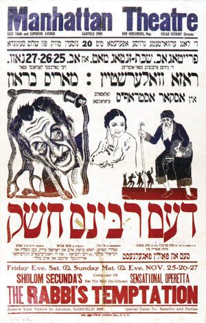 "Poster for ""The Rabbi's Temptation"" at Manhattan Theatre."