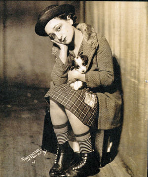 "Molly Picon in the Yiddish film ""The Jolly Orphan,"" 1929.  From ""New York's Yiddish Theater:  From the Bowery to Broadway."""