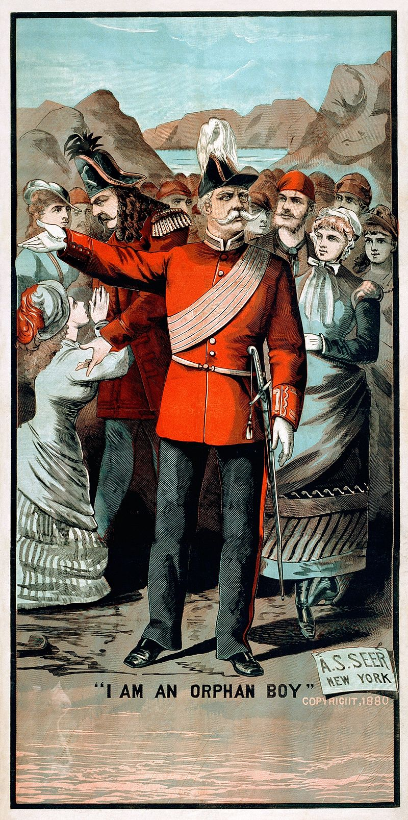"""An 1880 poster for """"The Pirates of Penzance,"""" showing the Major General as an """"orphan boy."""""""