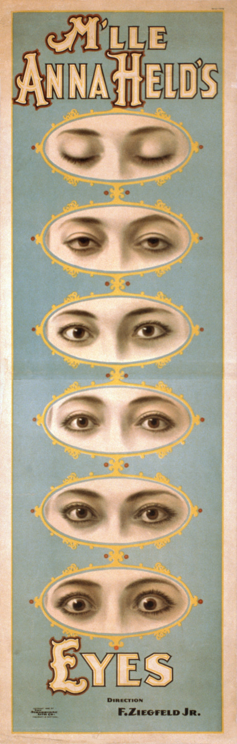 1898 poster showing Anna Held's eyes.