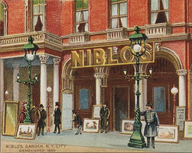 Niblo's Garden in New York, at the corner of Prince Street and Broadway. It was demolished in 1895.