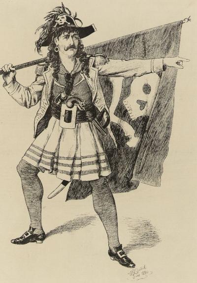 Drawing of Richard Temple as the Pirate King.