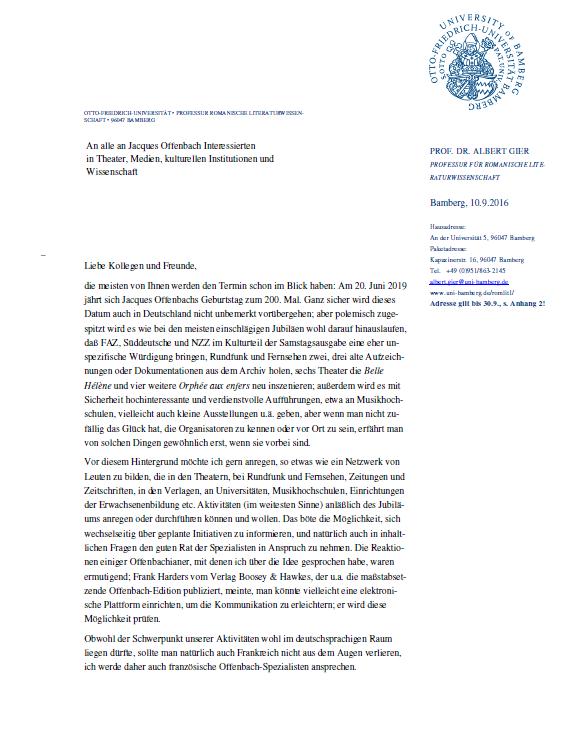 Albert Gier's letter regarding the 200th birthday of Offenbach in 2019.