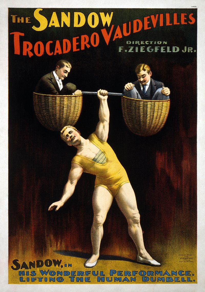 "Poster for ""The Sandow Trocadero Vaudevilles,"" produced by Ziegfeld in 1894."